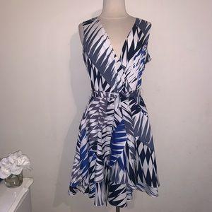 Blue white black belted dress 10 Banana Republic